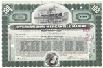 International Mercantile Marine Stock Certificate - Green 100 Shares