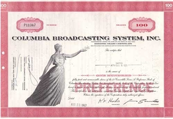 Columbia Broadcasting Systems Inc. (CBS) Stock Certificate