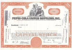 Pepsi-Cola United bottlers, Inc. Stock Certificate