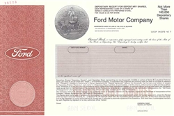 Ford Motor Company Specimen Stock Certificate with Henry Ford