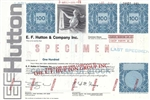 E.F. Hutton and Company Inc. Specimen Bond Certificate