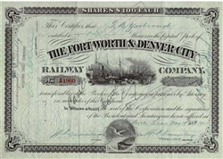The Fort Worth and Denver City Railway Company Stock Certificate