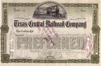 1893 Texas Central Railroad Company Stock Certificate