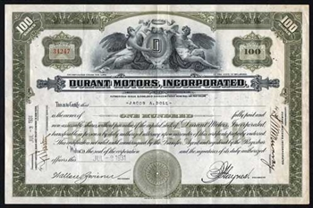 1931 Durant Motors Incorporated Stock Certificate