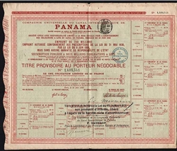 French Panama Canal Bond Certificate - 1888