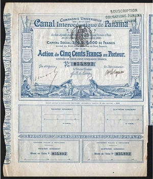 French Panama Canal Bond Certificate - 1880