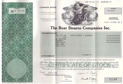 The Bear Stearns Company Inc. Stock Certificate