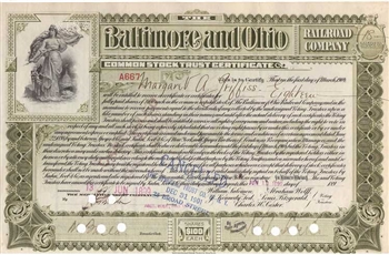 1899 Baltimore and Ohio (B&O) Railroad Co. Stock