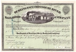 1870's The Burlington and Missouri River Railroad Co. Stock
