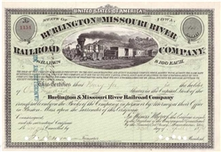 1800's The Burlington and Missouri River Railroad Co. Stock