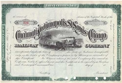 1800's The Cincinnati, Indianapolis, St. Louis and Chicago Railway Co. Stock