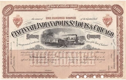The Cincinnati, Indianapolis, St. Louis and Chicago Railway Un-Issued 1880s