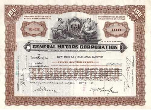 General Motors Corp Stock Certificate Gm Stock Certificate