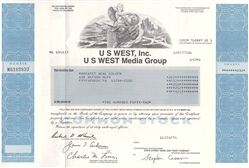 US WEST Inc. US West Media Group Stock Certificate