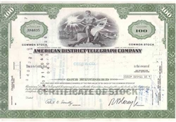 American District Telegraph (ADT) Company Stock Certificate