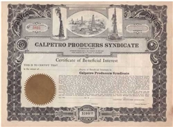 Calpetro Producers Syndicate Stock Certificate