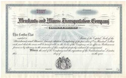 Merchant and Miners Transportation Company Stock Certificate