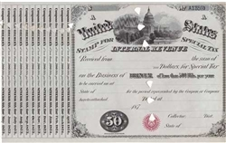 1870s United States Internal Revenue Stamp for Special Tax