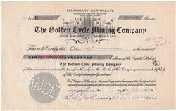 The Golden Cycle Mining Company Stock Certificate