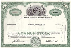 Baruch-Foster Corporation Stock Certificate - Shearson Hammill