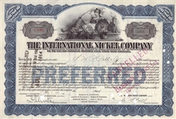 The International Nickel Company Stock Certificate