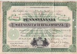 The Pennsylvania Salt Manufacturing Company Stock -1932
