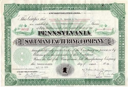 The Pennsylvania Salt Manufacturing Company Stock -1939