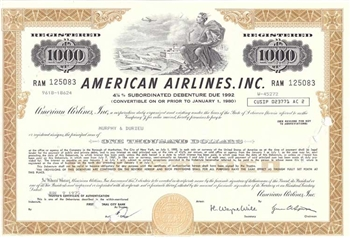 American Airlines Inc. $1000 Bond Certificate - 1970s