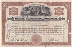 1930 Durant Motors Incorporated Stock Certificate