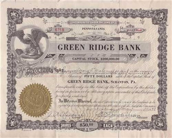 1938 Green Ridge Bank Stock Certificate
