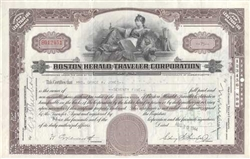 Boston Herald Traveler Corporation Stock Certificate