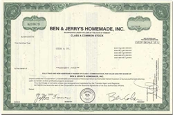 Ben & Jerry's Homemade, Inc Ice Cream Stock Certificate