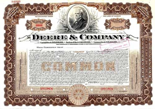Deere & Company Stock Certificate Larger Photo Email A Friend