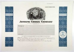 Adolph Coors Company Specimen Stock Certificate - 1930s
