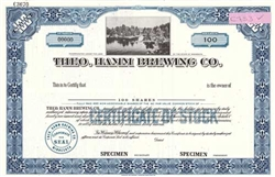 Theo Hamm Brewing Co. Specimen Stock Certificate