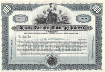 Boston Railroad Holdings Company Stock Certificate