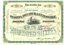 Peoria, Decatur and Evansville Railway Company Stock Certificate