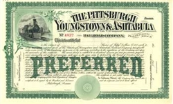 Pittsburgh, Youngstown & Ashtabula Railroad Stock Certificate