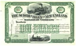 Scioto Valley and New England Railroad Stock Certificate