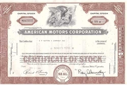 American Motors Corp Stock Certificate - Issued EF Hutton