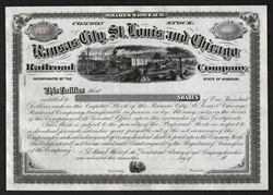 Kansas City, St. Louis and Chicago Railroad Stock Certificate - 1800s
