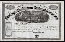 Carthage and Burlington Railroad Stock Certificate - 1800s