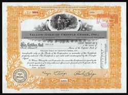 Yellow Gold of Cripple Creek Stock Certificate