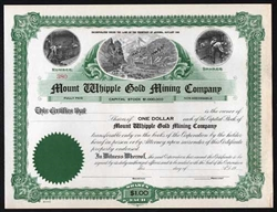 Mount Whipple Gold Mining Certificate - Territory of Arizona