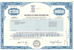 XM Satellite Radio. Stock Certificate