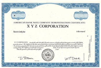 American Bank Note Co Demonstration Stock Certificate - Specimen