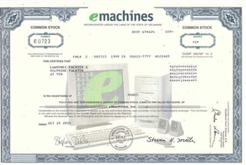 eMachines Stock Certificate