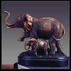 Elephant and Baby Figurine - Bronzed Statue