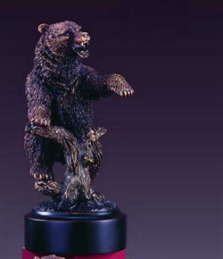 "7"" Pawing Bear Statue - Bronzed Figurine"