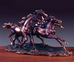 "14"" - Three Running Horses Statue - Figurine"